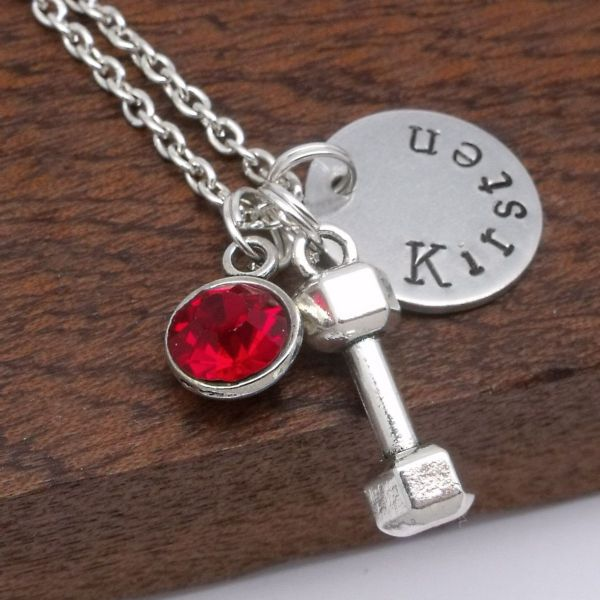 Dumbbell name necklace personalised gift birthstone